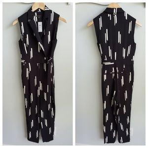 Ann Taylor petite black print jumpsuit 00P